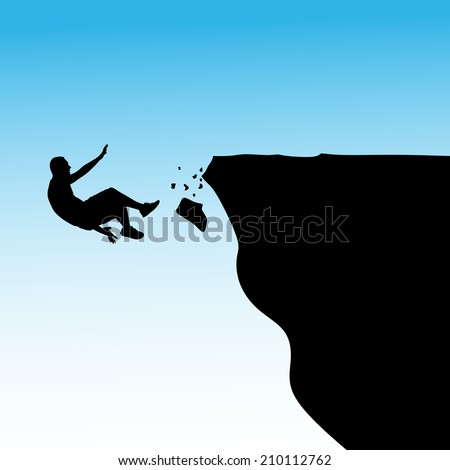 Man falls off a cliff, vector - stock vector
