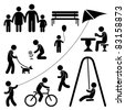 Man Family Children People Garden Park Activity Sign Symbol Pictogram Icon - stock vector