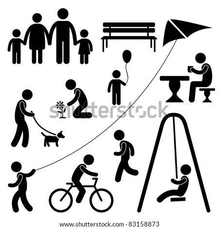 Man Family Children People Garden Park Activity Sign Symbol Pictogram Icon