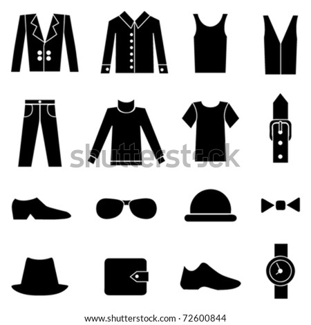 man fashion and clothes icons - stock vector