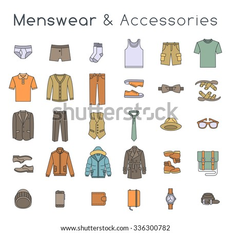 Man fashion clothes and accessories flat line vector icons. Linear objects of male outfit, underwear, shoes and every day essentials for any season. Modern urban casual style collection