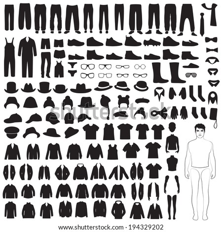 man fashion icons, paper doll, isolated clothing silhouette - stock vector