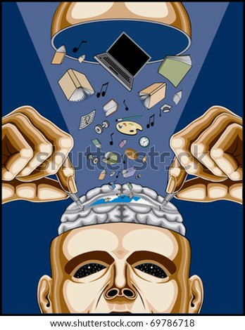 Man Feeding His Zippered Brain is an illustration of a man opening his zippered brain to feed it healthy knowledge, strength, information and life. It is on a blue background.