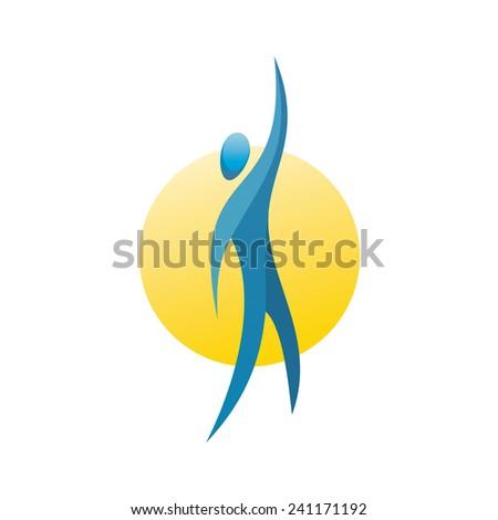 Man figure reach up for a top logo concept - stock vector