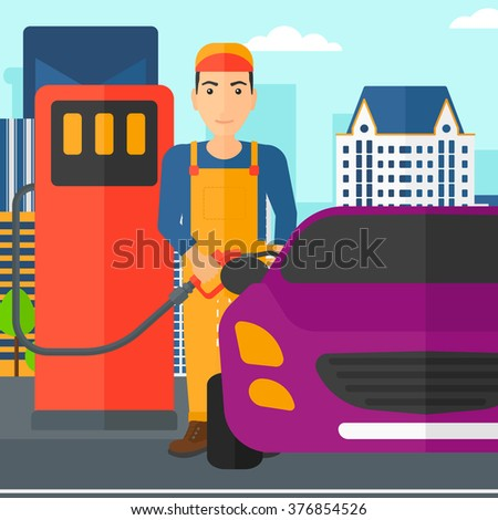 Man filling up fuel into car. - stock vector