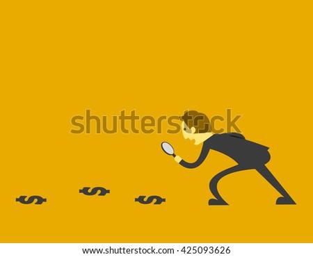 man finding money - stock vector
