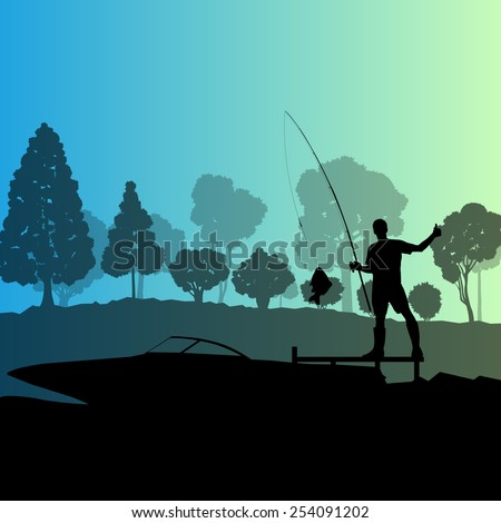 Man fishing on lake near boat vector background landscape - stock vector