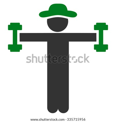 Man Fitness vector icon. Style is bicolor flat symbol, green and gray colors, rounded angles, white background. - stock vector