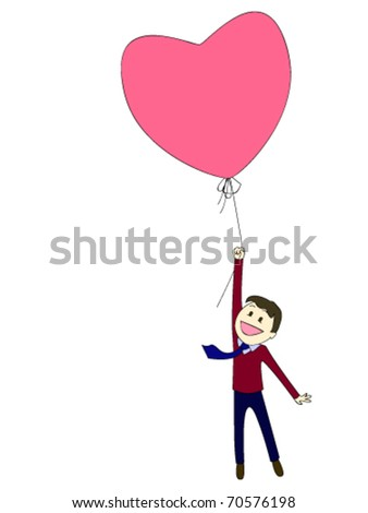 Man flying with a balloon in the shape of a heart - stock vector
