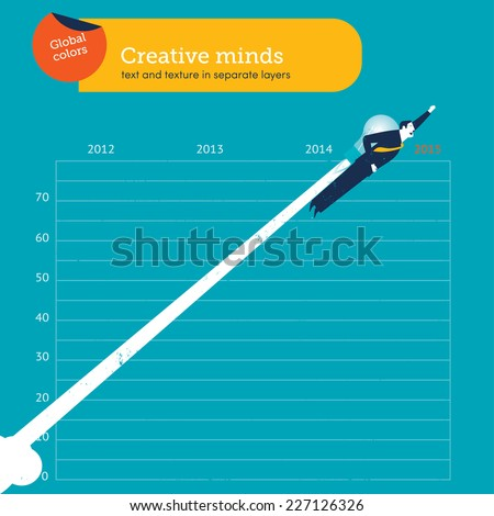 man flying with a bulb over year 2015. Vector illustration Eps10 file. Global colors. Text and Texture in separate layers. - stock vector
