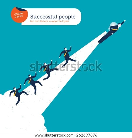 Man flying with a bulb rocket creating a path with businessmen running on it.  Vector illustration Eps10 file. Global colors. Text and Texture in separate layers. - stock vector
