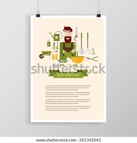 Man gardener and garden tools. Environmental activities. Gardening icons set. Poster. Modern flat style. Vector illustrations. - stock vector