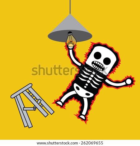 man gets electric shock stock vector 262069655 shutterstock. Black Bedroom Furniture Sets. Home Design Ideas