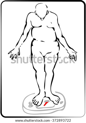 Man getting on a weighing scale. - stock vector
