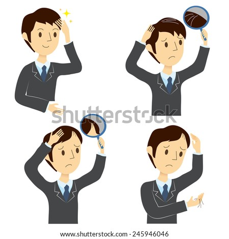 Man, hair care, before after  - stock vector