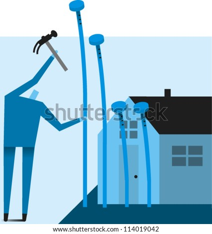 Man hammers nails in to different depths next to a house - stock vector