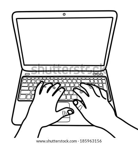 Man hand on laptop keyboard, vector - stock vector