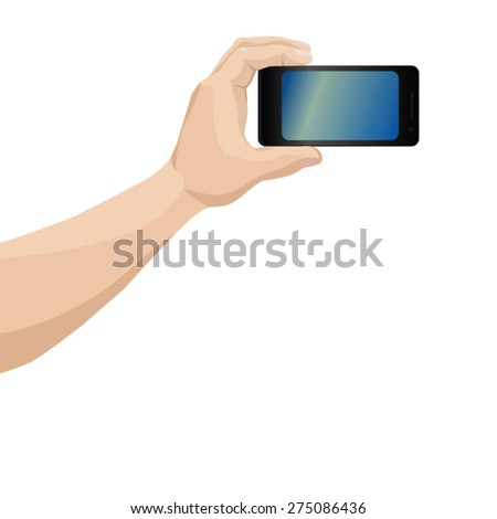 Man hand photoshooting on smartphone over white background