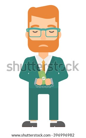 Man handcuffed for crime. - stock vector