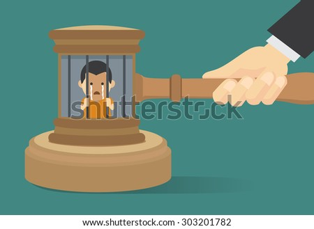 Man has been detained in prison because sentenced from presiding judge - stock vector