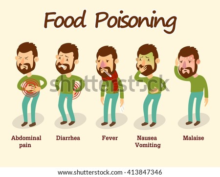 Man having a stomachache / food poisoning / stomach problems - stock vector