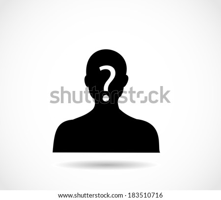 Man head and shoulders silhouette with excalmation mark vector - stock vector