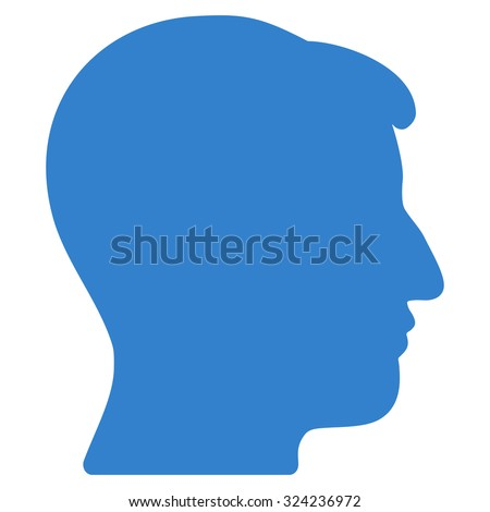 Man Head vector icon. Style is flat symbol, cobalt color, rounded angles, white background.