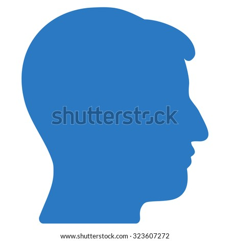 Man Head vector icon. Style is flat symbol, smooth blue color, rounded angles, white background.