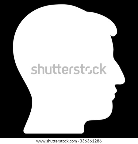 Man Head vector icon. Style is flat symbol, white color, rounded angles, black background.