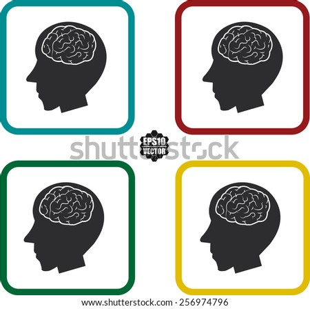 Man head With Brain Symbol And Icons Set On White Background And Colorful Border. Vector illustration. - stock vector