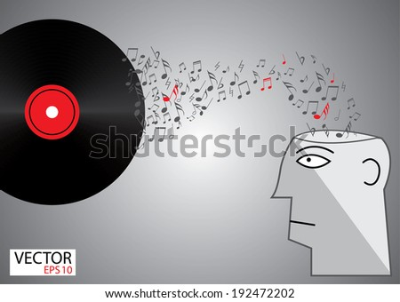 man head with music note and Vinyl audio disc, music concept and idea - stock vector