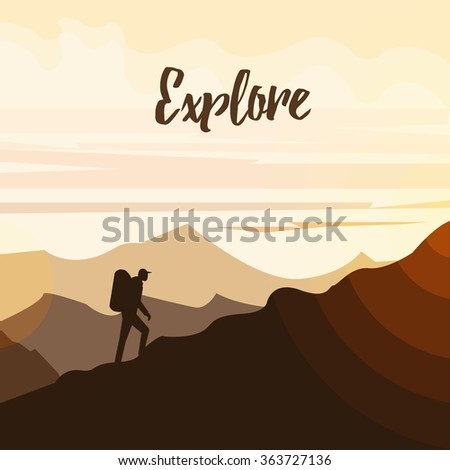 Man hiker on a top of a mountain. Minimal flat vector graphics for web site, advertisement, printed material, banner or flier. Explore and adventure concept. Retro hipster poster - stock vector