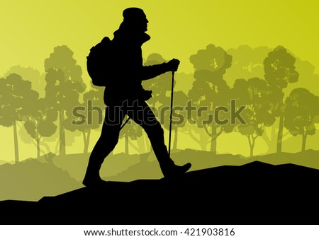Man hiking in mountains adventure nordic walking with poles in nature vector background illustration landscape - stock vector