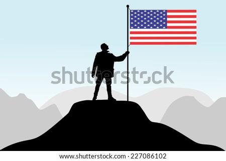 man holding a flag of USA, vector  - stock vector