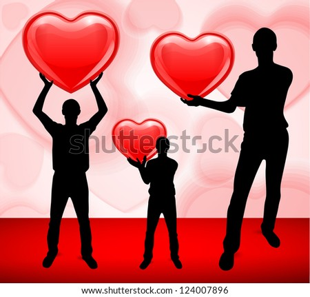 man holding a heart. Silhouettes of people. vector.