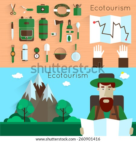 Man holding a map. Camping and hiking equipment elements. Landscape with mountains. Colorful vector flat design. Set icons.  - stock vector
