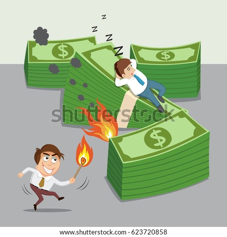 Man holding a match with fire arson business, vector illustration cartoon