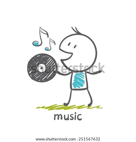 man holding a musical vinyl record  illustration - stock vector