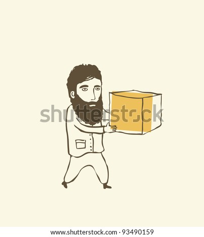 man holding a pile of cardboard boxes - stock vector