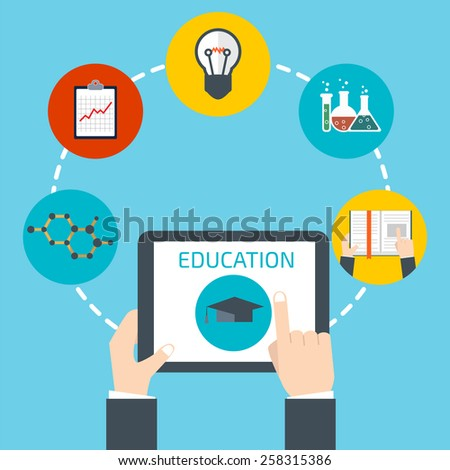 Man holding a tablet. Online education concept - stock vector