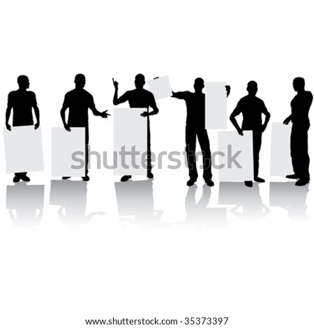 Man holding blank sign for your text - stock vector