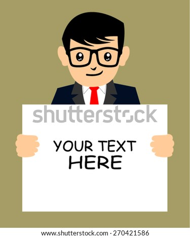 man holding blank sign, vector illustration