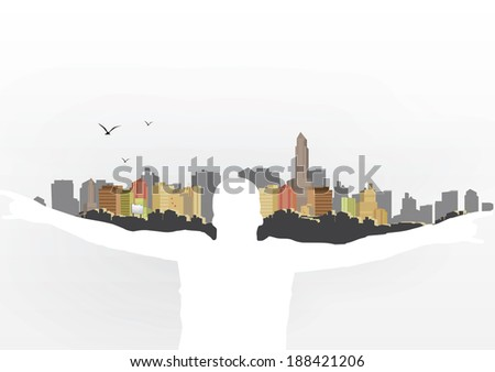 Man Holding City on Shoulders - Vector Illustration - stock vector