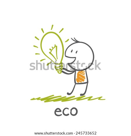 man holding eco-bulb illustration - stock vector
