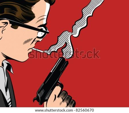 Man Holding Gun Smoking A Cigarette - stock vector