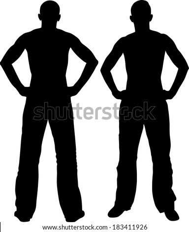 man holding hands on his hips - back and front - stock vector