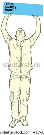 man holding object 2 - stock vector