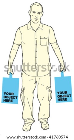 man holding object 3 - stock vector
