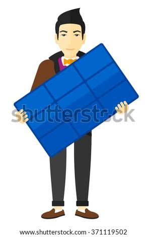 Man holding solar panel. - stock vector