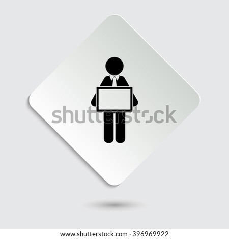 man holding tablet - black vector icon  on a paper button